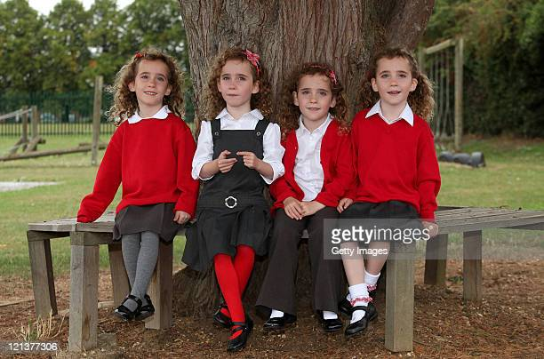 The UK's only identical quadruplets Ellie Carles Holly Carles Georgie Carles and Jessica Carles aged five have been recruited by Sainsbury's to test...