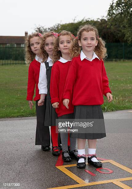 The UK's only identical quadruplets Ellie Carles Jessica Carles Holly Carles and Georgie Carles aged five have been recruited by Sainsbury's to test...