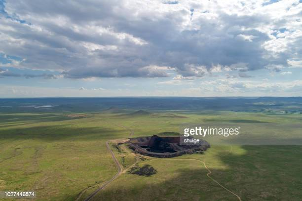 the ulan hada volcano group - volcanic crater stock pictures, royalty-free photos & images