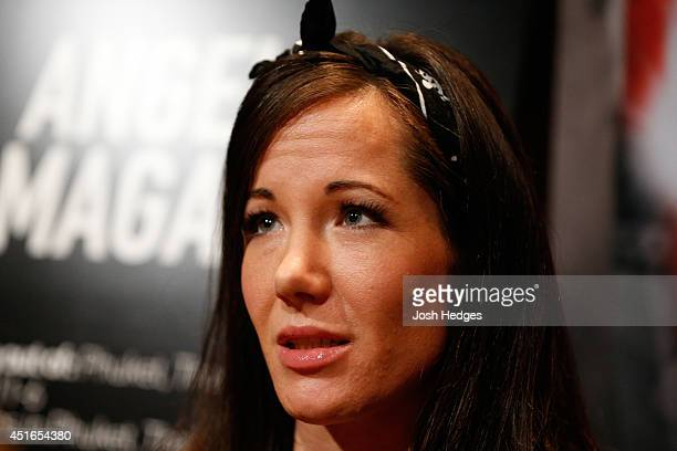 The Ultimate Fighter season 20 cast member Angela Magana interacts with media during the UFC Ultimate Media Day at the Mandalay Bay Resort and Casino...