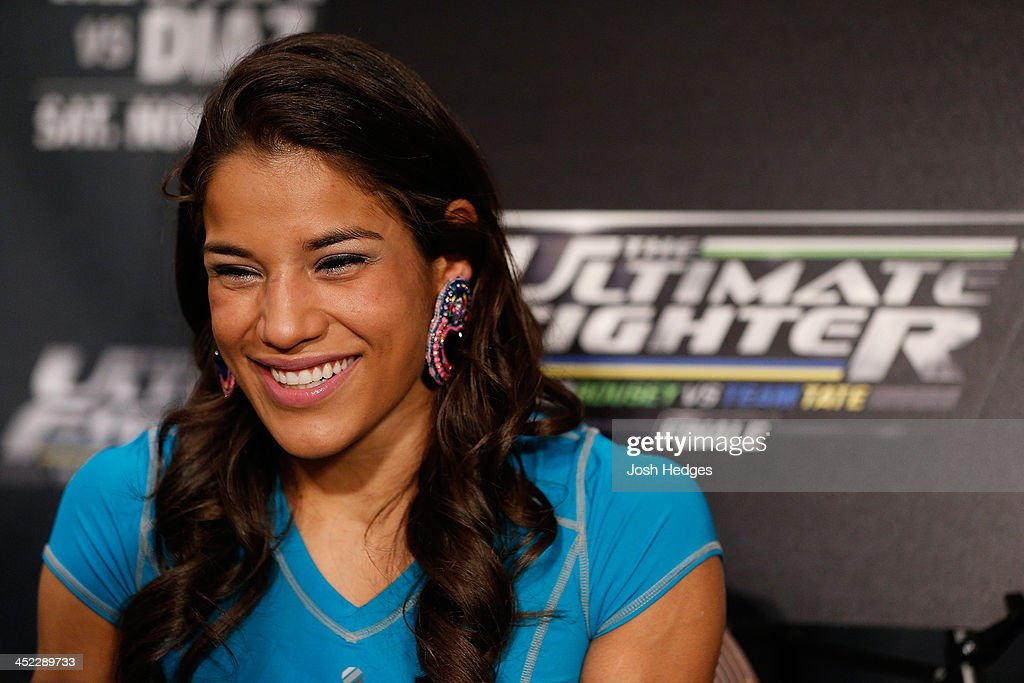 The Ultimate Fighter women's bantamweight finalist Julianna Pena interacts with media during media day ahead of The Ultimate Fighter season 18 live finale inside the Mandalay Bay Events Center on November 27, 2013 in Las Vegas, Nevada.