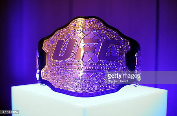 The Ultimate Fighting Championship belt on display during the Leaders UFC Breakfast at the Cafe Royal Hotel on March 6 2014 in London England