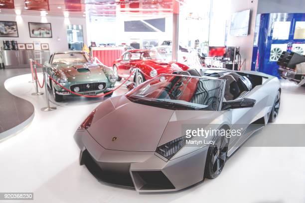 The ultra rare Lamborghini Reventon displayed for sale at Joe Macari Performance Cars on January 27 2018 in London England Lamborghini made 21...