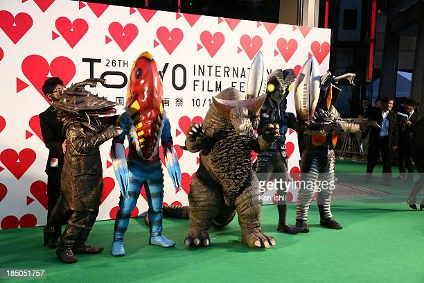 The Ultraman monsters attend the Tokyo International Film Festival Opening Ceremony on October 17, 2013 in Tokyo, Japan.