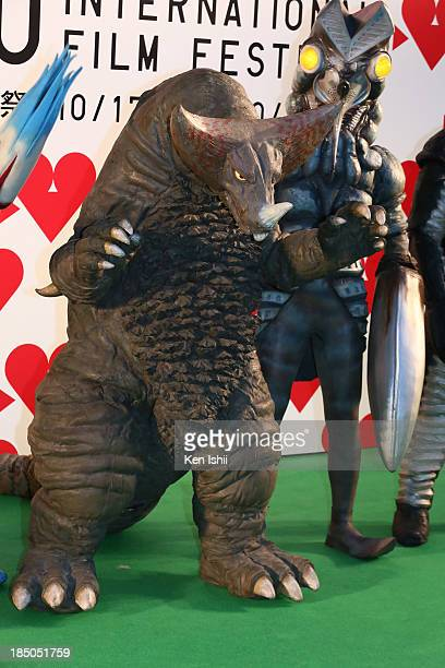 The Ultraman monsters attend the Tokyo International Film Festival Opening Ceremony on October 17 2013 in Tokyo Japan