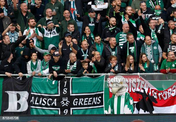 The ultras and the genuine mascot eagle wait for the kickoff prior to the Hungarian OTP Bank Liga match between Ferencvarosi TC and DVSC at Groupama...