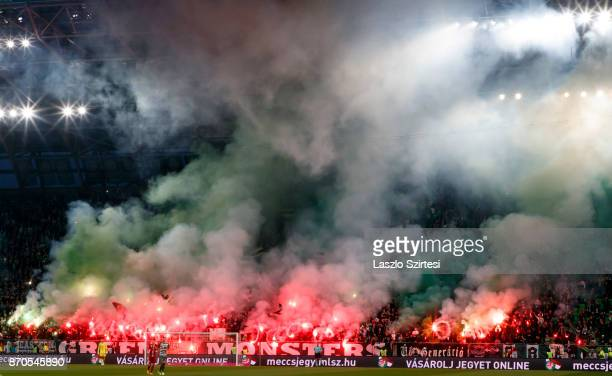 The ultras light fire during the Hungarian OTP Bank Liga match between Ferencvarosi TC and DVSC at Groupama Arena on November 4, 2017 in Budapest,...