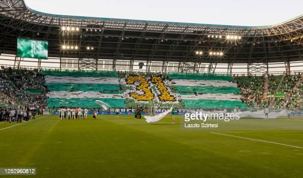 The ultras of Ferencvarosi TC celebrate the 31st championship title during the Hungarian OTP Bank Liga match between Ferencvarosi TC and Mezokovesd...