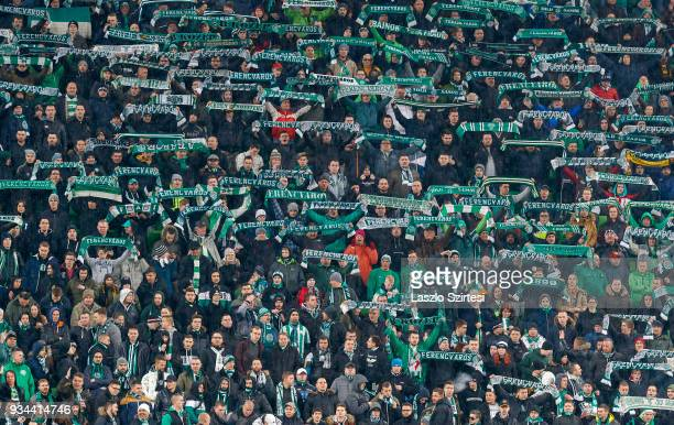 The ultras of Ferencvarosi TC lift up their scarfs during the Hungarian OTP Bank Liga match between Ferencvarosi TC and Puskas Akademia FC at...