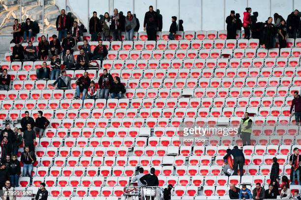 The ultras of Nice left the stadium before the end of the game during the Ligue 1 match between OGC Nice and Olympique Lyonnais at Allianz Riviera on...
