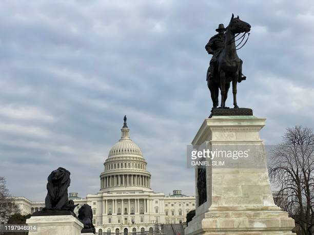 The Ulysses S Grant Memorial is pictured with the US Capitol building in the background on February 1 2020 in Washington DC