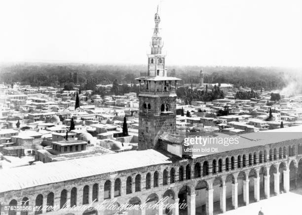 The Umayyad Mosque also known as the Great Mosque of Damascus and the city 1908