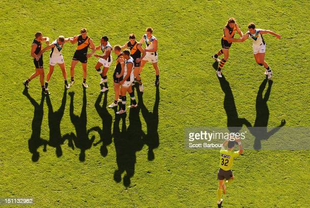 The umpire bounces the ball during the round 23 AFL match between the Richmond Tigers and the Port Adelaide Power at the Melbourne Cricket Ground on...