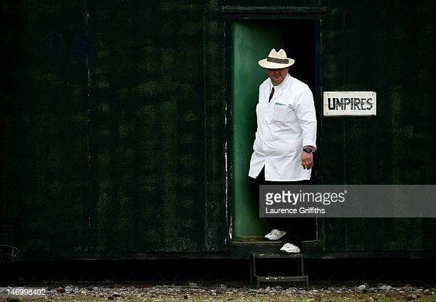 The umpire comes from his room for a game of village cricket at Marchwiel Cricket Club on July 12 2008 in Marchwiel Wales
