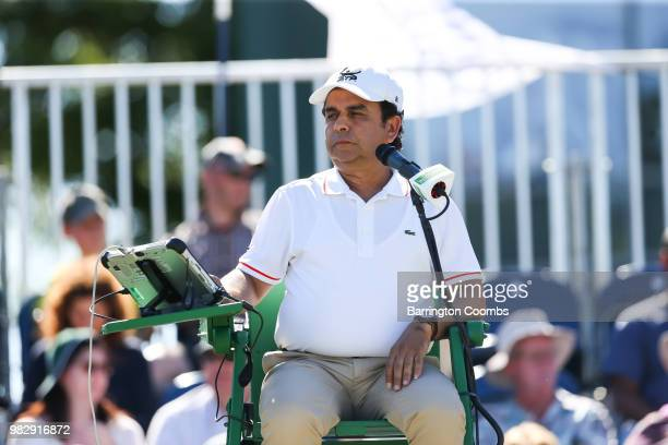 The umpire looks on during the Men's final between Sergiy Stakhovsky of the Ukraine and Oscar Otte of Germany on day Eight of the Fuzion 100 Ikley...