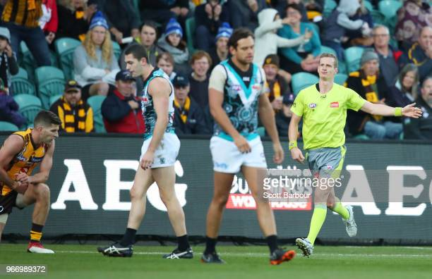 The umpire signals a a free kick to Hawthorn during the round 11 AFL match between the Hawthorn Hawks and the Port Adelaide Power at University of...