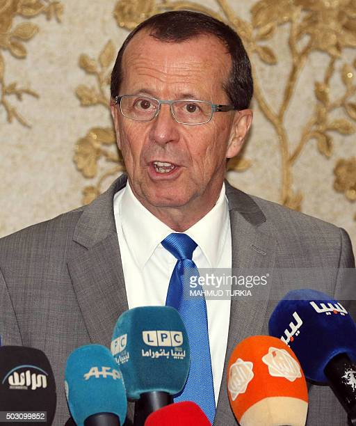 The UN envoy for Libya Martin Kobler speaks during a press conference following a meeting with the members of Libya's General National Congress on...