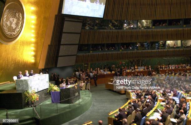 The UN General Assembly chamber is filled with more than 160 world leaders for session of the United Nations World Summit.