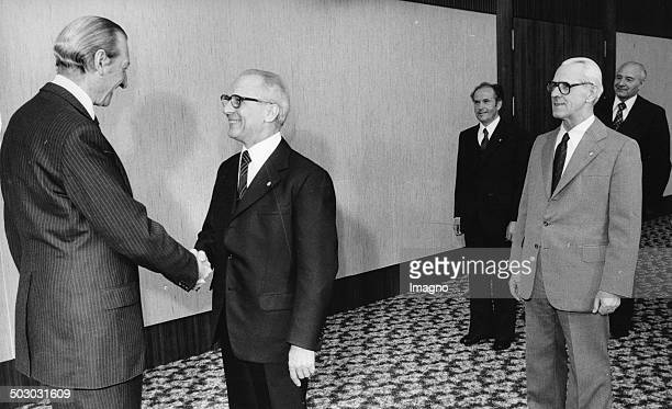 The UN SecretaryGeneral Kurt Waldheim during his visit to the German Democratic Republic together with the General Secretary of the Central Committee...