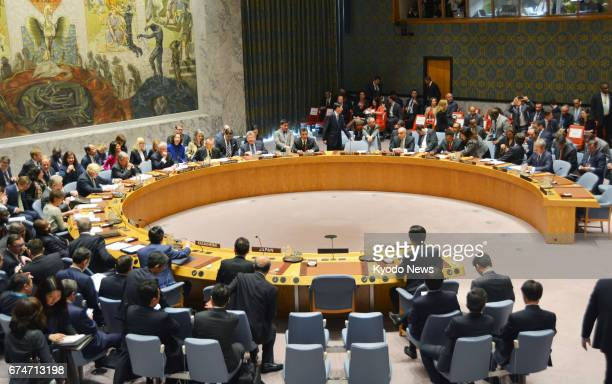 The UN Security Council convenes a ministeriallevel meeting on North Korea in New York on April 28 2017 amid heightened tensions on the Korean...
