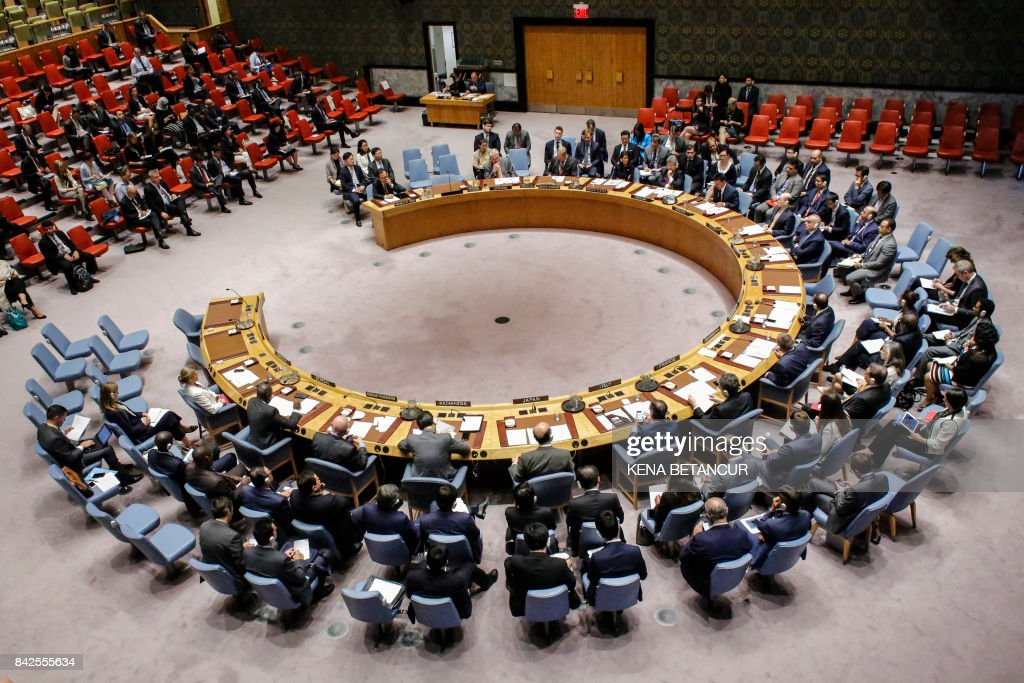 TOPSHOT - The UN Security Council during an emergency meeting over North Korea's latest nuclear test, on September 4, 2017, at UN Headquarters in New York. The UN Security Council on Monday opened an emergency meeting to agree to a response to North Korea's sixth and most powerful nuclear test, as calls mounted for a new raft of tough sanctions to be imposed on Pyongyang. /