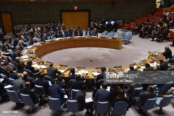 TOPSHOT The UN Security Council meets on April 14 at UN Headquarters in New York The UN Security Council on Saturday opened a meeting at Russia's...