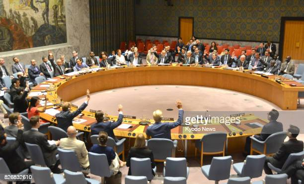 The UN Security Council unanimously adopts a sanctions resolution against North Korea at the UN headquarters in New York on Aug 5 2017 The USdrafted...