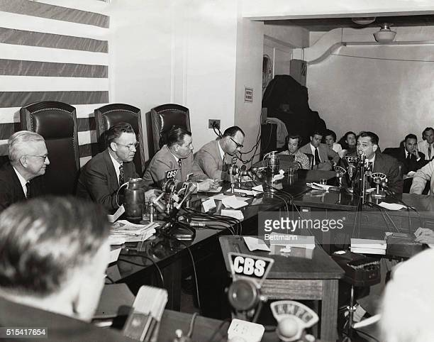 The UnAmerican Activities Committee interviewing writer Henry Blankfort concerning communism in Hollywood in its second open session Blankfort...