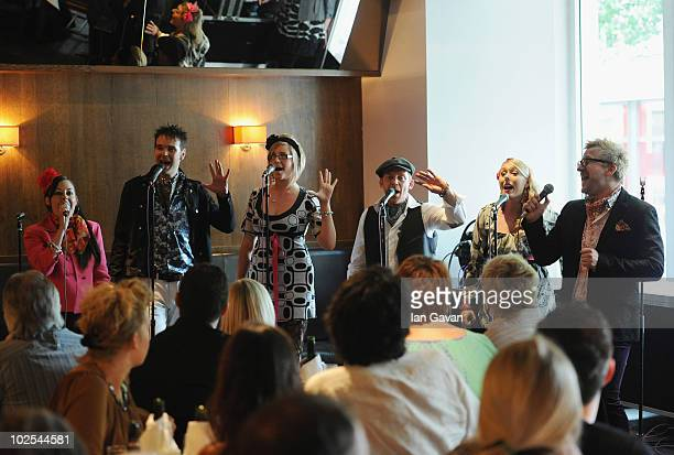 KellyAnne Gower Andrew Newey Laura Lee Tom Newman Melissa Jacques and Drew JaymsonLONDON ENGLAND JUNE 30 'The Unconventionals' perform at the launch...