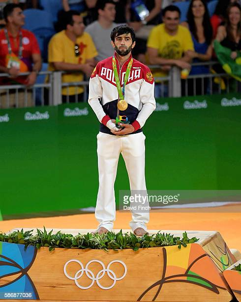 The under 60kg gold medallist, Beslan Mudranov of Russia, during the medal ceremony on day 1 of the 2016 Rio Olympic Judo on Saturday, August 06 at...