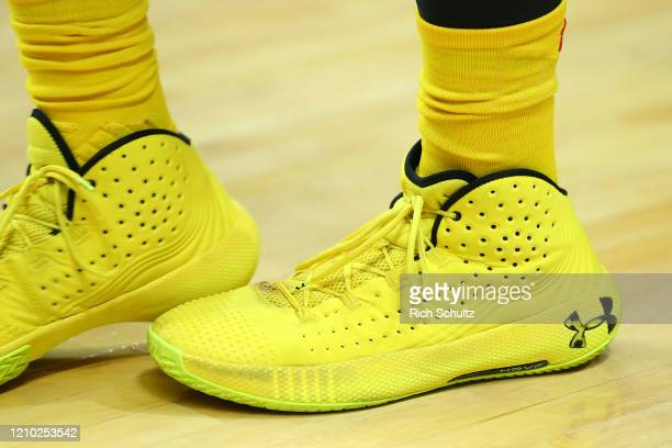 The Under Armor sneakers worn by Joshua Tomaic of the Maryland Terrapins during a college basketball game against the Rutgers Scarlet Knights at...