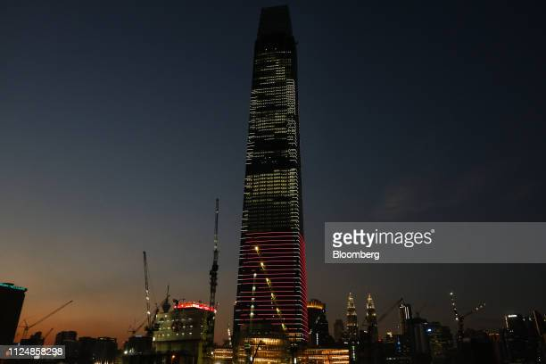 The under construction Exchange 106 building center is illuminated on the site of the Exchange TRX precinct in Kuala Lumpur Malaysia on Tuesday Feb...