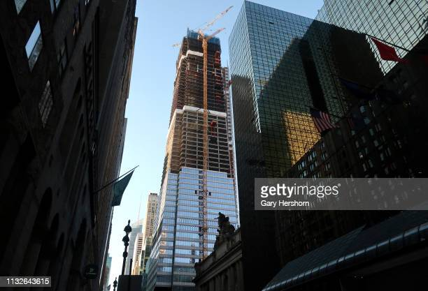 The under construction office tower One Vanderbilt rises above Grand Central Terminal on February 26, 2019 in New York City.