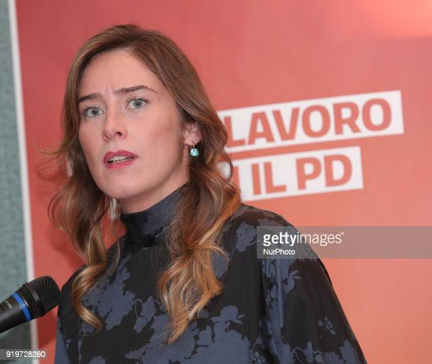 The under secretary to the presidency of the council Maria Elena Boschi candidate for next elections during the electoral meeting with sicilian...