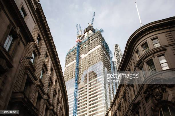 The underconstruction 22 Bishopsgate tower marketed as Twentytwo continues to rise to its full height of 62 storeys in London England on June 23 2018...