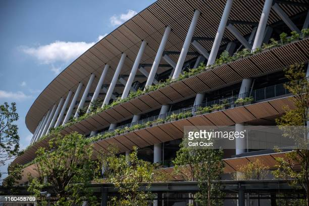 The under-construction New National Stadium, the main stadium for the upcoming Tokyo 2020 Olympic and Paralympic Games, is pictured on August 9, 2019...