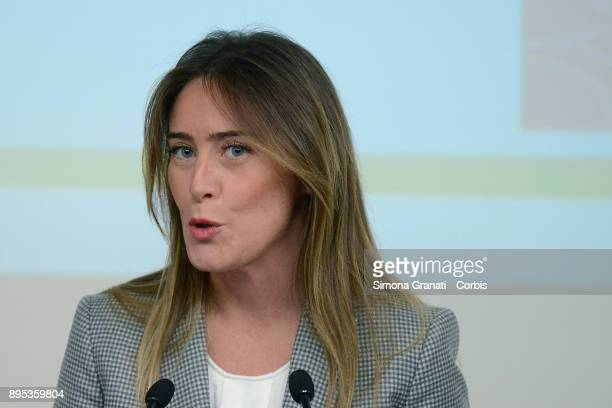 The Undersecretary to the Presidency of the Council Maria Elena Boschi participates in the press conference at Palazzo Chigi for the presentation of...