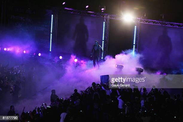 SYDNEY AUSTRALIA JUNE 15 The Undertaker enters the arena during WWE Smackdown at Acer Arena on June 15 2008 in Sydney Australia