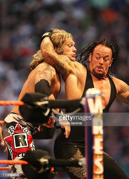 The Undertaker takes on Edge during WrestleMania XXIV at the Citrus Bowl on Sunday March 30 in Orlando Florida