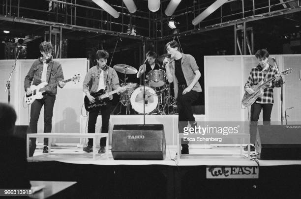 The Undertones rehearsing on the set of Channel 4 TV show 'The Tube' Newcastle United Kingdom 1983
