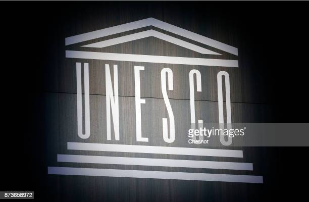 The UNESCO logo is seen during the investiture ceremony of the newly elected DirectorGeneral of the United Nations Educational Scientific and...