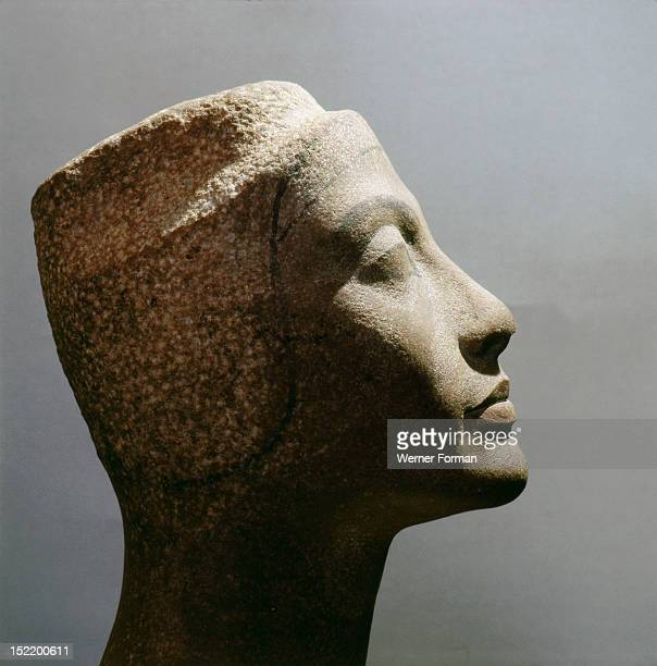 The unfinished head of Queen Nefertiti wife of Akhenaton Egypt Ancient Egyptian Amarna period c 1373 1357 BC Tell el Amarna