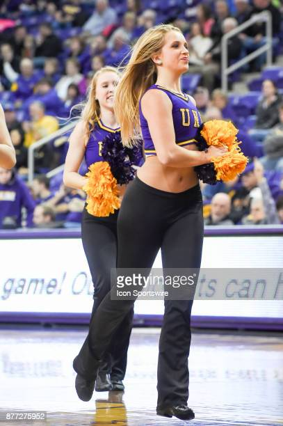 The UNI cheerleaders rev up the crowd during a second half timeout during the basketball game between the Chicago State Cougars and the University of...