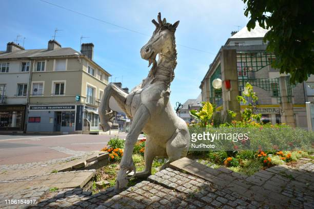 The Unicorn monument, the emblem of the city of Saint-Lo. Saint-Lo was destoyed during the Second World War, after American bombardments caused heavy...