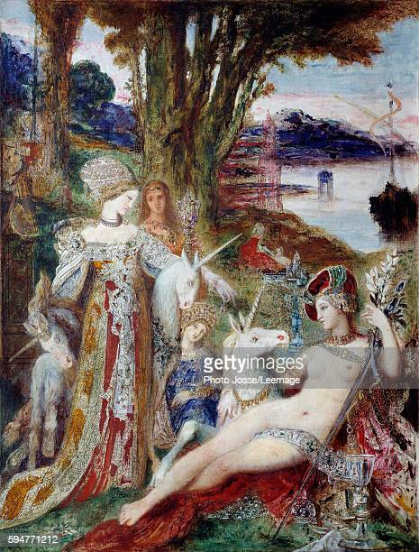 The Unicorns Painting by Gustave Moreau 1885 Oil on canvas15 x 09 m Gustave Moreau Museum Paris