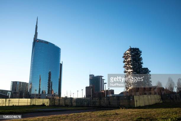 The Unicredit Tower located and Bosco Verticale in Piazza Gae Aulenti in Milan Italy on 10 January 2019 With its 231 meters of height to the spire is...