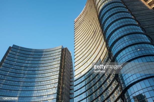 The Unicredit Tower located in Piazza Gae Aulenti in Milan Italy on 10 January 2019 With its 231 meters of height to the spire is the tallest...