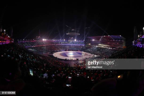 The unified Korean team are seen during the Opening Ceremony of the PyeongChang 2018 Winter Olympic Games at PyeongChang Olympic Stadium on February...