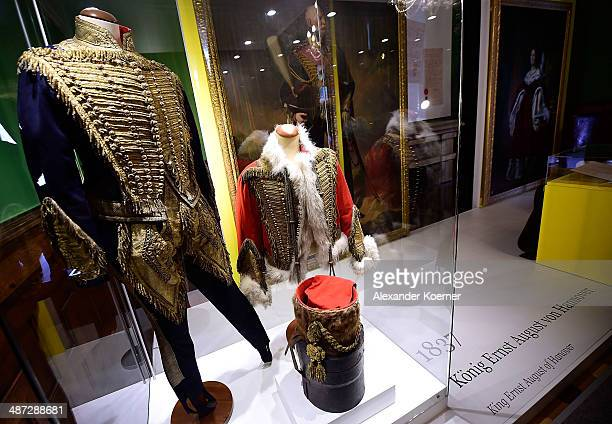 The uniform of King George V which he had worn during the battle of Langensalza on June 27 is displayed during a preview of 'Der Weg zur Krone Das...