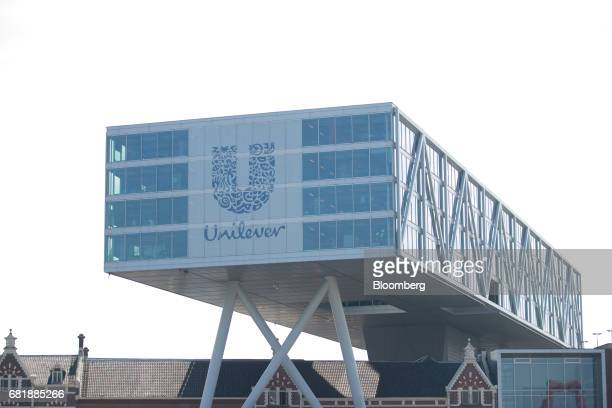 The Unilever logo sits on the Unilever NV headquarter offices in Rotterdam Netherlands on Thursday May 11 2017 Unilever Plc'sannouncement that it's...